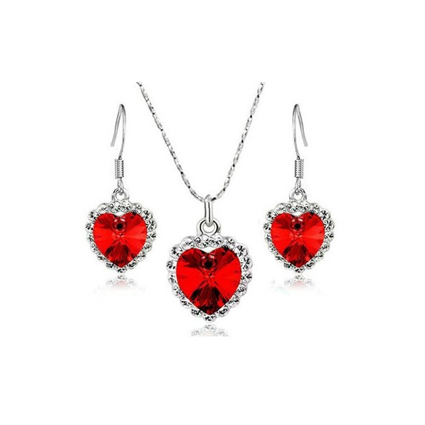 -40% KOMPLET HEART TITANIC RED SREBRO