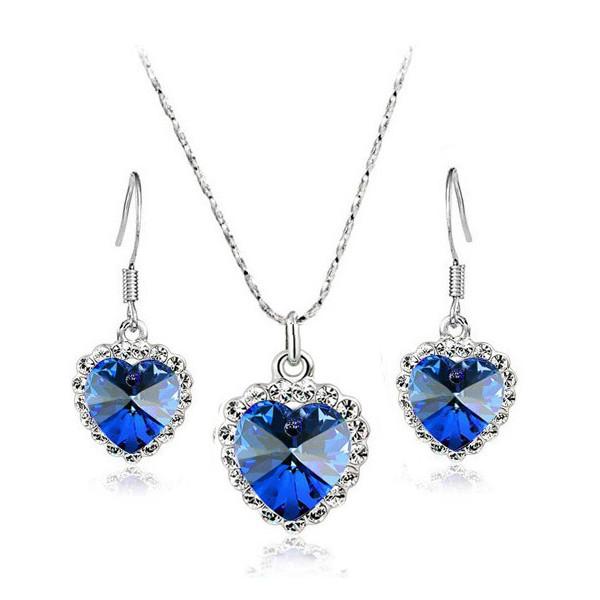 -40% KOMPLET HEART TITANIC DARK BLUE SREBRO