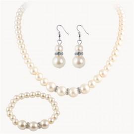 Komplet VERONICA perły naszyjnik, kolczyki, bransoletka