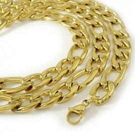 Łańcuszek PANCERKA FIGARO GOLD 7mm STAL złoty