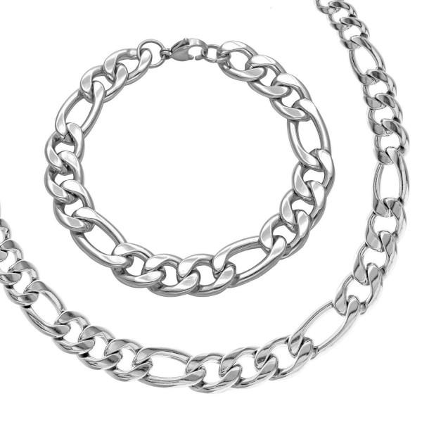 Komplet PANCERKA bransoletka FIGARO STAL srebrny