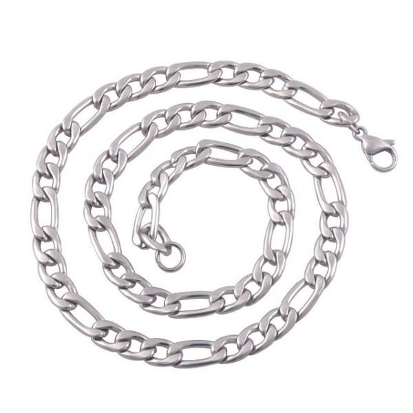 Łańcuszek PANCERKA FIGARO 9mm STAL srebrny