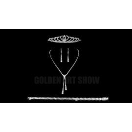 Komplet ślubny ELENA 7 naszyjnik, kolczyki, tiara, bransoletka