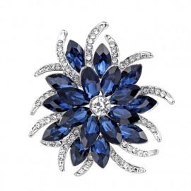 - 30% Broszka BLUE FLOWER austrian crystals PIĘKNA
