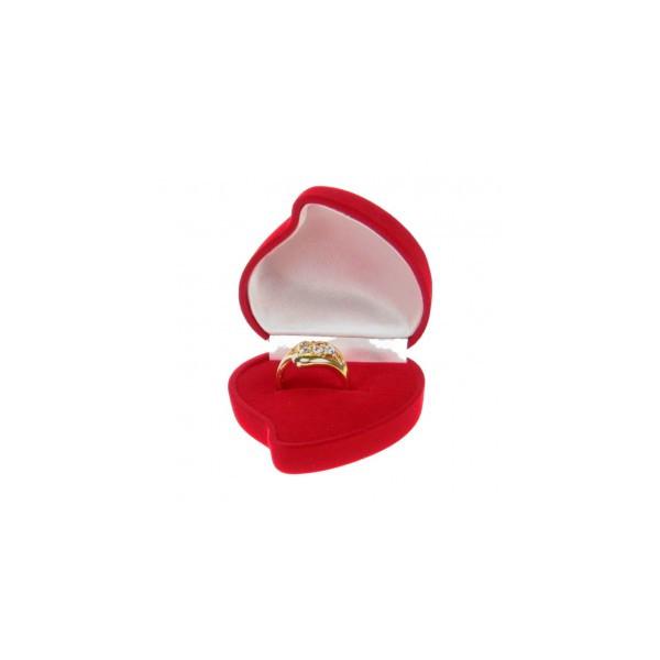 Pudełeczko SERCE z różą na PIERŚCIONEK WELUR czerwone